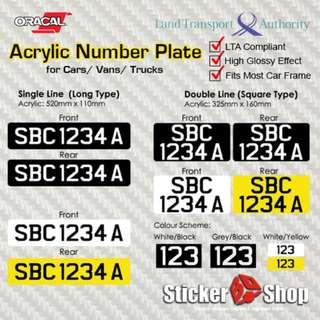 Cheapest Acrylic Number Plate for 4 Wheelers (LTA Compliant)