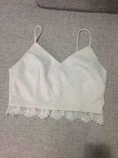 White crotchet hem cropped top