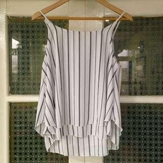 Stripes White Tank Top (Freesize)