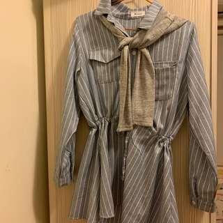 韓風小文青小披肩藍白條紋上衣裙縮腰洋裝