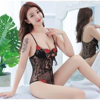[READY STOCK] Flower Embroidery Underwired Teddies Sexy Sleepwear Lingerie