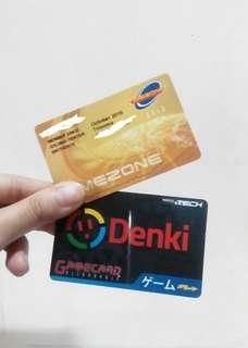 Timezone Gold and Denki Gamecards (for points/tickets)