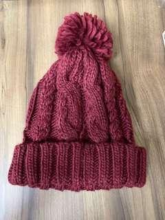 酒紅毛帽(全新)