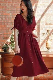 🚚 Fashmob Sonia linen midi in red