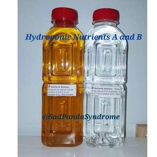 Hydroponic Aeroponic Concentrated Nutrients Solution A 500ml and B 500ml