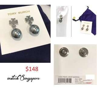 READY STOCK authentic new  Tory Burch Logo Pearl Drop Earring 48298
