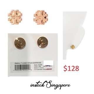 READY STOCK authentic new  Tory Burch Tory Burch Small T-Logo Stud Earrings Tory rose gold # 53355