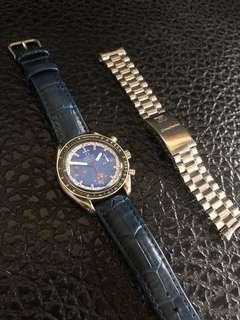 🚚 正品 絕版 限量 Omega 歐米茄 歐米伽 舒馬赫 賽車紀念錶 三眼計時錶 機械錶 手錶 鋼錶 皮錶