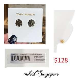 READY STOCK authentic new  Tory Burch Tory Burch Small T-Logo Stud Earrings Tory silver # 53355