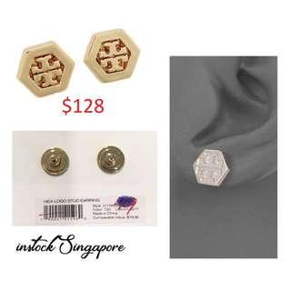 READY STOCK authentic new $128 Tory Burch 31155532 Women's Hex Logo Stud Gold Tone Post Earrings