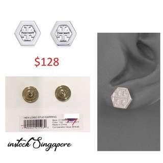 READY STOCK authentic new  Tory Burch 31155532 Women's Hex Logo Stud silver Tone Post Earrings