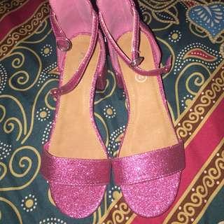 Rubi heels pink glitter