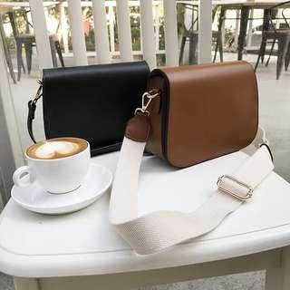 Korea Style women casual shoulder bag sling bag free 2 strap