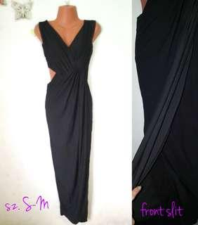 black formal maxi side cut out dress