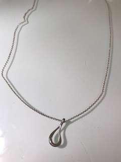 Tiffany & Co Elsa Peretti Open Tear drop Silver Necklace