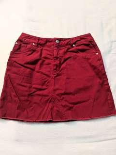 F21 red denim skirt