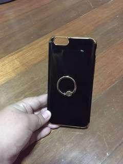 Preloved iphone 6 hard case black with gold lines ring case