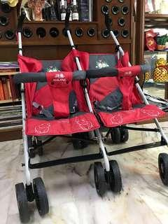 Twin Stroller with Full Head Canopy