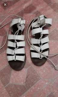 White leather gladiator sandals