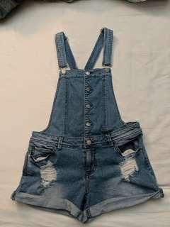 F21 Denim Overall Shorts