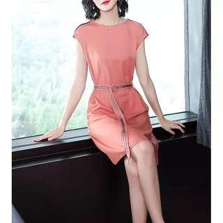 🚚 Coral Pink Cap Sleeves Dress with Waist Sash