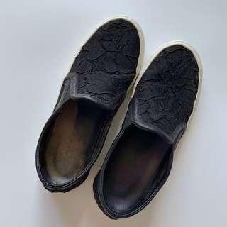 Sandro Black Lace Slip On Flats