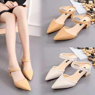 Korea Style women middle heel slip on pointed OL shoes