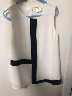 🚚 White Blue Colour Block Structured Dress Girl 3 4 5 year old