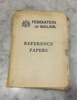 Rare Vintage Federation Of Malaya Reference Papers
