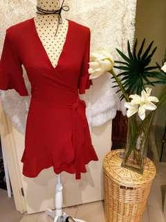MISSGUIDED Red Burgundy Ruffle Tea Dress sz6 BRAND NEW
