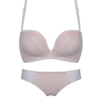 🚚 Push Up Bra Pink with White Lace 85B