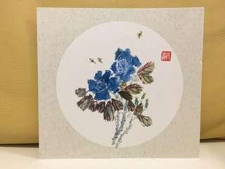 Chinese calligraphy art 水墨畫 (blue flower bees)