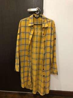 long flannel shirt ulzzang