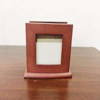 wooden holder with picture frames