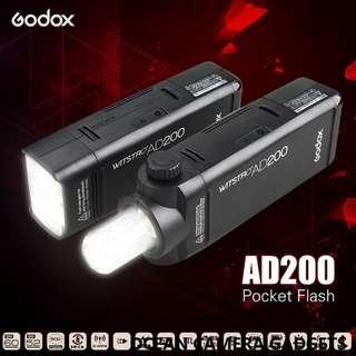Godox AD 200 Pocket Flash AD200 Portable Mini TTL HSS Speedlite