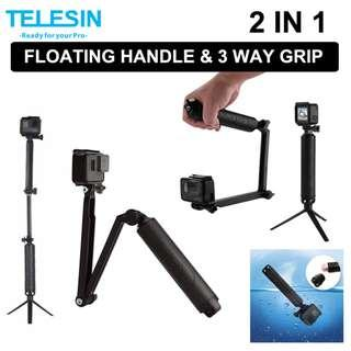🚚 TELESIN Waterproof 3 Way Selfie Floating Hand Grip Selfie Stick Monopod Pole Tripod for GoPro or Action Camera