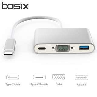2615. USB C to VGA Adapter - 3-in-1 Multiport Type-C to VGA Hub Converter with 3.0 USB Port and Type C Charging Port for MacBook/ChromeBook Pixel/USB-C Devices to HDTV/Projector(Silver)