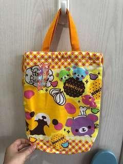 小熊 橙黃色 食物袋 手提袋 索繩袋 全新