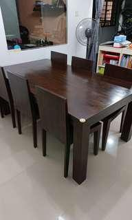 🚚 Solid wood Dining set (Negotiable)
