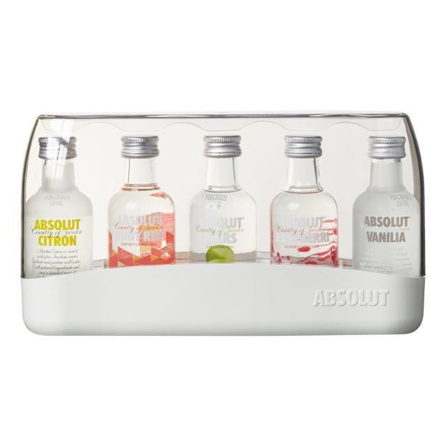 Absolut Vodka Miniature Set 5 x 50ml, 40%, Food & Drinks, Beverages on Carousell