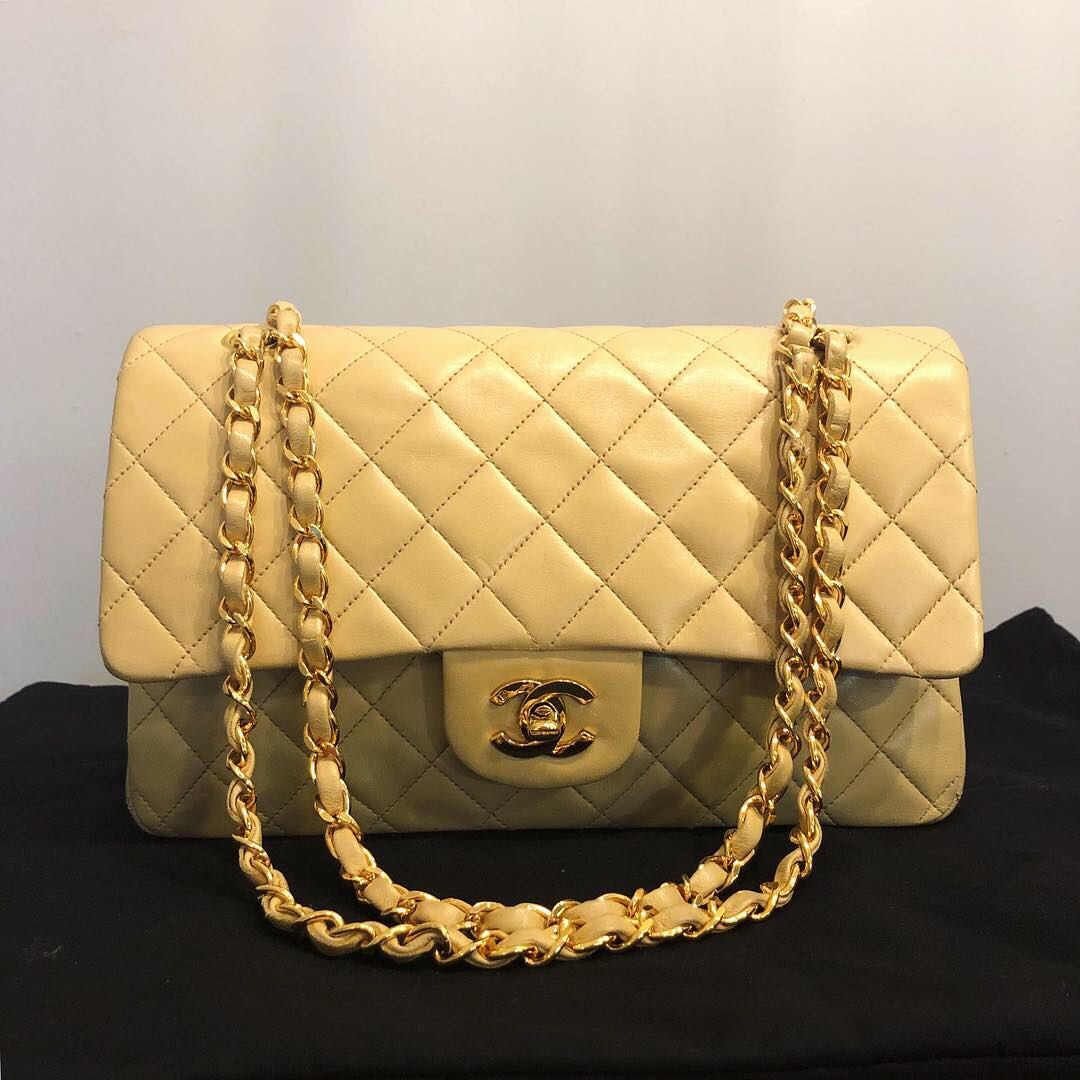 485d1b649dfe Authentic Chanel Nude Lambskin Classic Double Flap Bag w 24k Gold ...