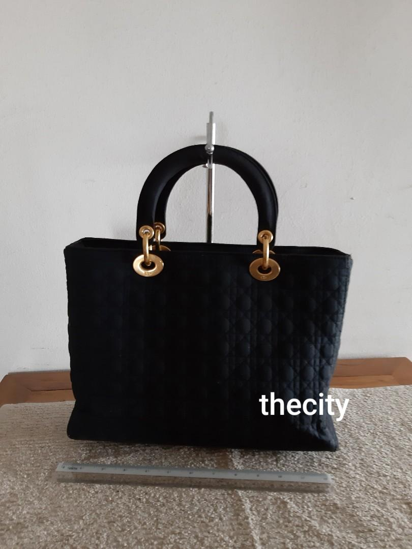 AUTHENTIC DIOR , LARGE LADY DIOR - BLACK COLOUR - IN SUEDE MICROFIBER - CLEAN INTERIOR - SOLID SHAPE STRUCTURE- (LADY DIOR BAGS NOW RETAIL OVER RM 17,000+) - RM 980 ONLY