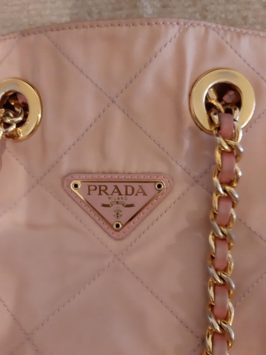 AUTHENTIC PRADA CHAIN SHOULDER BAG- BABY PINK COLOUR- CLEAN INTERIOR, OVERALL IN GOOD CONDITION - (PRADA CHAIN SHOULDER BAGS NOW RETAIL OVER RM 5000+) - RM 360 ONLY