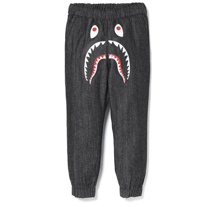 ca312060adcf Bape kids shark denim jogger pants