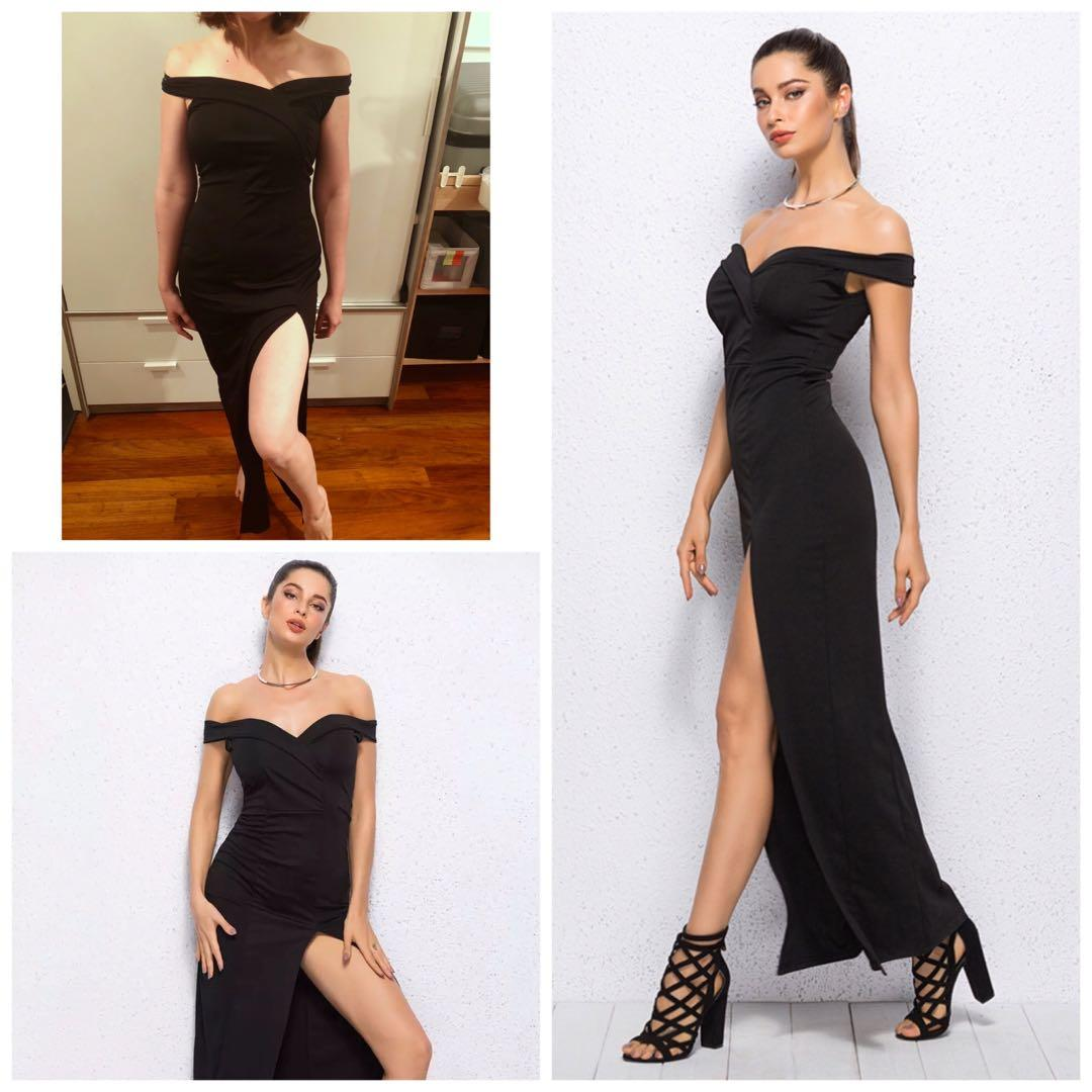 Brand new off the shoulder black evening dress with slit
