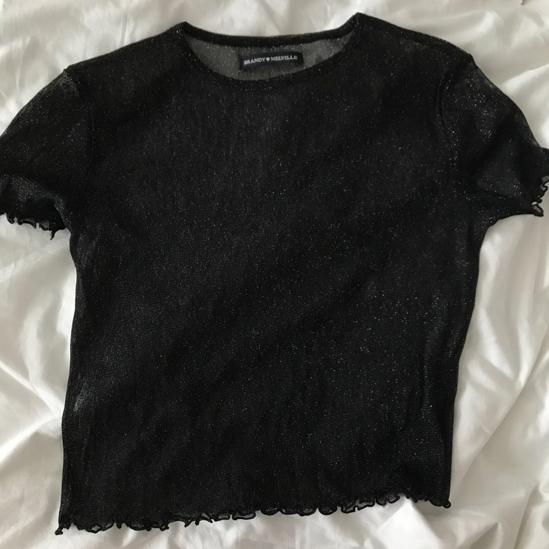 1ccb3daf768a Brandy Melville see through black glittery top