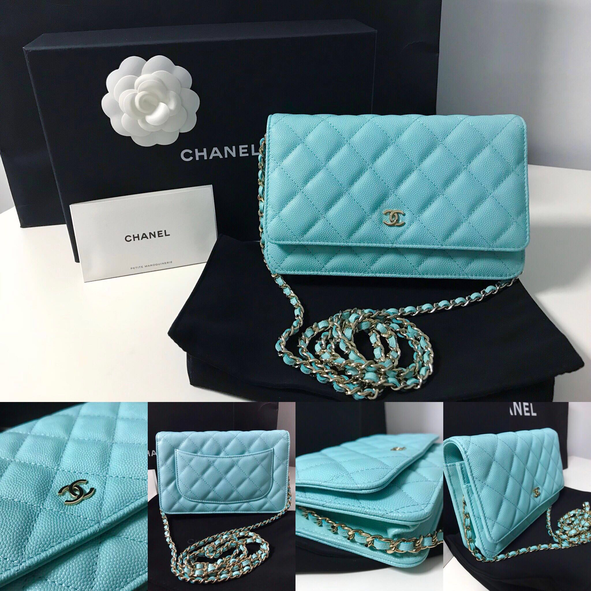75ff47e57472f4 Chanel Wallet On Chain woc in Caviar Tiffany Blue LGHW 19C, Luxury ...