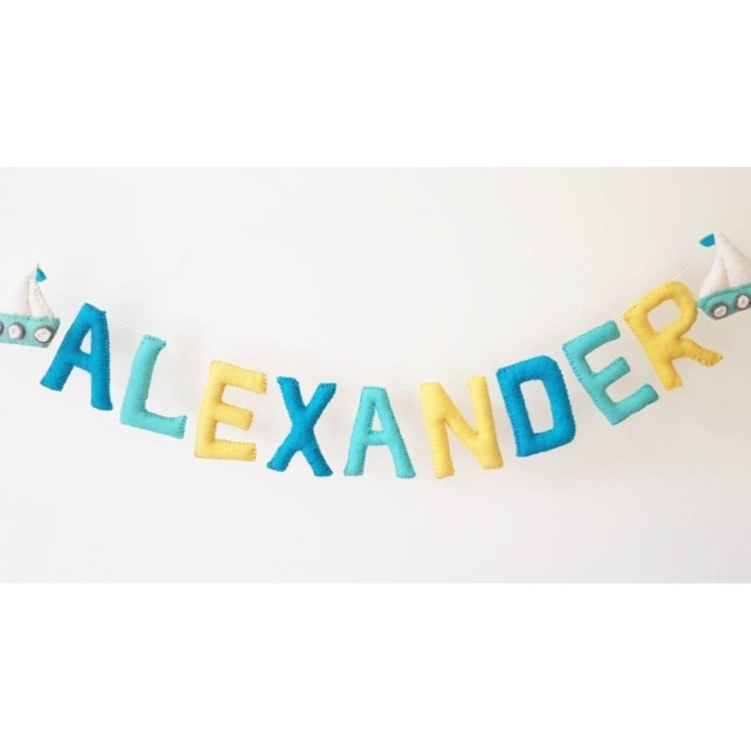 Customized Felt Name Garland Name Bunting Nursery Decor Babies Kids Cots Cribs On Carousell