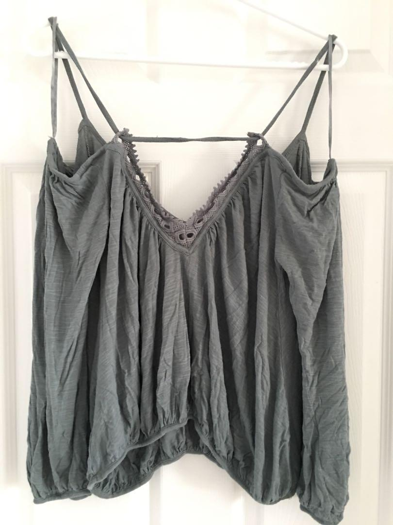 Free people off the shoulder top lace crochet back green grey