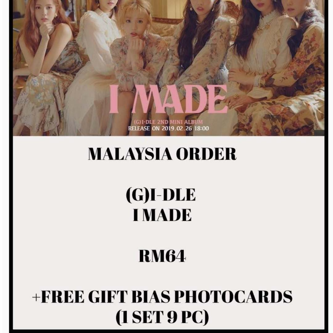 GI-DLE / GIDLE / (G)I-DLE / - I MADE- ALBUM PREORDER/NORMAL ORDER/GROUP ORDER/GO + FREE GIFT BIAS PHOTOCARDS (1 ALBUM GET 1 SET PC, 1 SET HAS 9 PC)